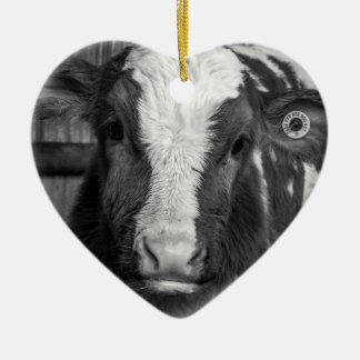 Young Holstein Dairy Bull Calf in Black and White Double-Sided Heart Ceramic Christmas Ornament