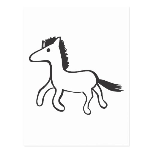 Young Horse Running in Black and White Sketch Postcard