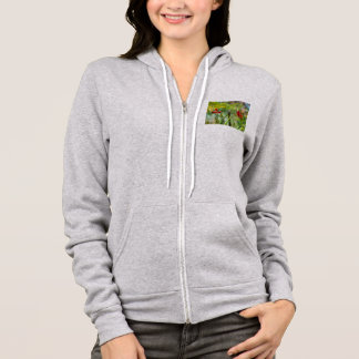 Young Hummingbird perched on stalk of flowers Hoodie
