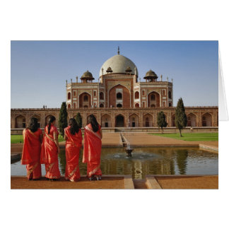 Young Indian ladies and Humayun s Tomb Delhi Card