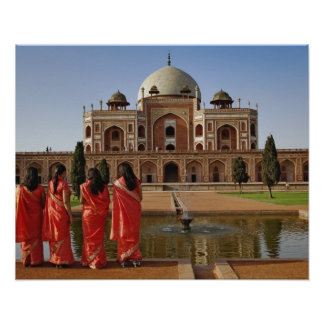 Young Indian ladies and Humayun's Tomb, Delhi, Poster
