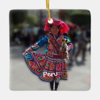 Young Inka Girl in Arequipa Peru Ceramic Ornament