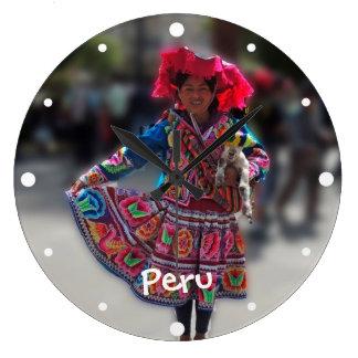 Young Inka Girl in Arequipa Peru Large Clock