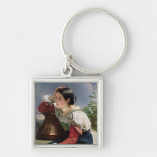 Young Italian at the Well, c.1833-34 Silver-Colored Square Keychain