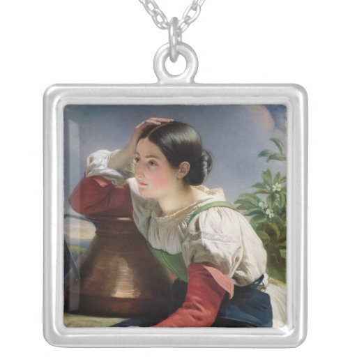 Young Italian at the Well, c.1833-34 Square Pendant Necklace