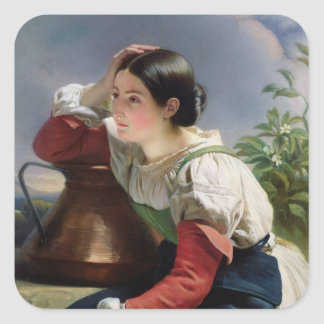 Young Italian at the Well, c.1833-34 Square Sticker