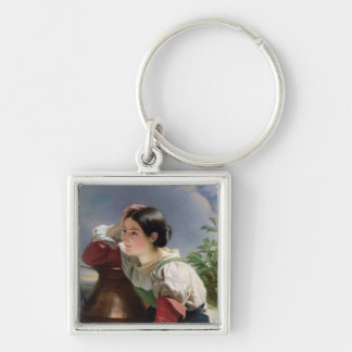 Young Italian at Well Silver-Colored Square Keychain