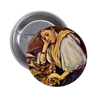 Young Italian Girl By Paul Cézanne (Best Quality) Button