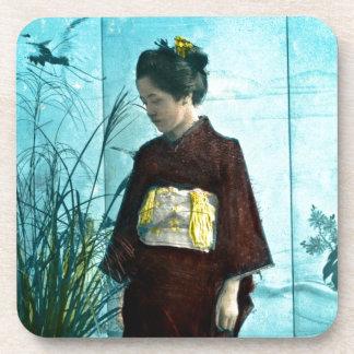 Young Japanese Girl Vintage Hand Colored Kimono Beverage Coaster