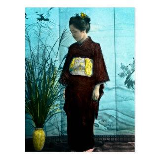 Young Japanese Girl Vintage Hand Colored Kimono Postcard