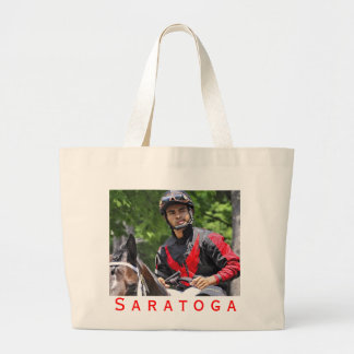 "Young Jockey Sensation ""Luis Saez"" at Saratoga Large Tote Bag"
