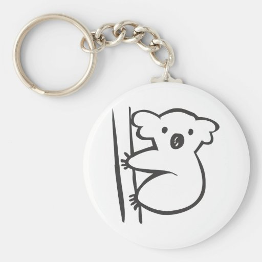 Young Koala in a Tree in Black and White Sketch Basic Round Button Keychain