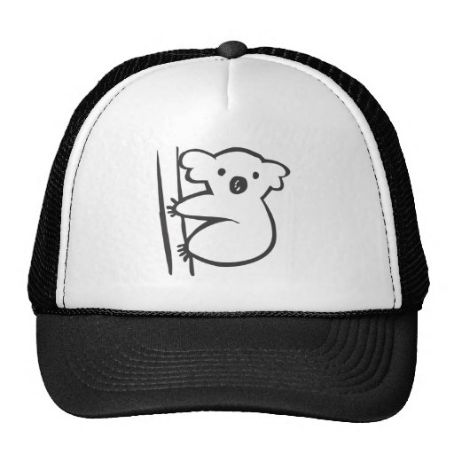 Young Koala in a Tree in Black and White Sketch Trucker Hat