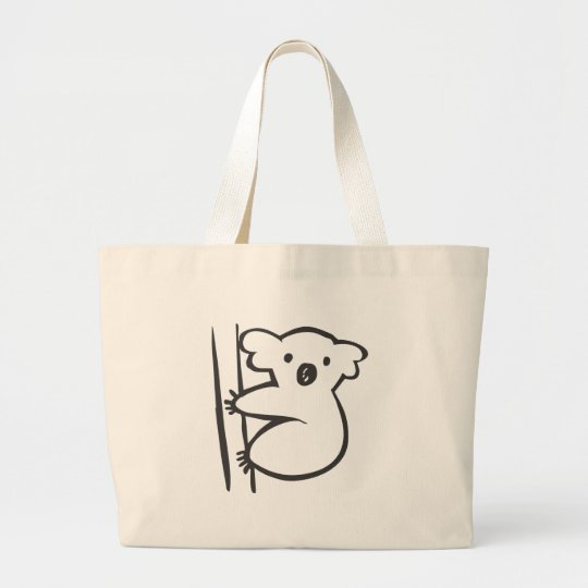 Young Koala in a Tree in Black and White Sketch Large Tote Bag