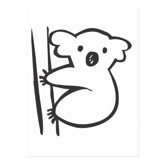 Young Koala in a Tree in Black and White Sketch Postcard