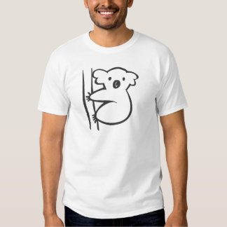 Young Koala in a Tree in Black and White Sketch T-Shirt
