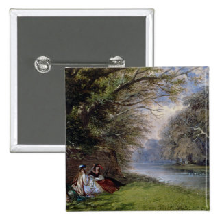 Young ladies by a river pinback button