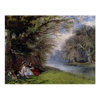 Young ladies by a river postcard