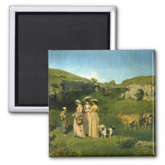 Young Ladies of the Village 2 Inch Square Magnet