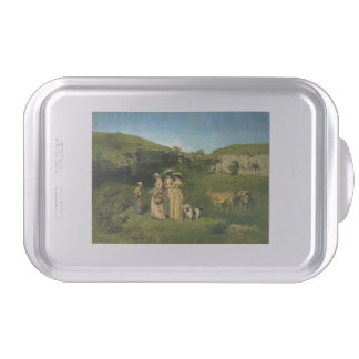 Young Ladies of the Village by Gustave Courbet Cake Pan