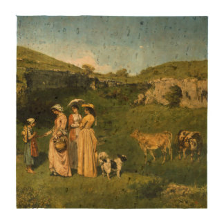 Young Ladies of the Village by Gustave Courbet Drink Coaster