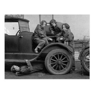 Young Lady Auto Mechanics, 1927 Postcard