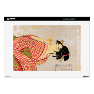 """Young Lady Blowing on a Poppin. 15"""" Laptop Skins"""