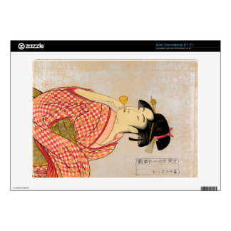 Young Lady Blowing on a Poppin. Decal For Acer Chromebook