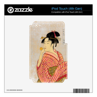 Young Lady Blowing on a Poppin. iPod Touch 4G Decal