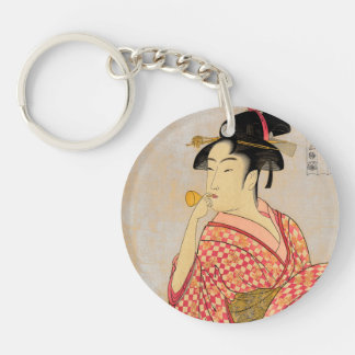 Young Lady Blowing on a Poppin. Double-Sided Round Acrylic Keychain