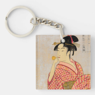 Young Lady Blowing on a Poppin. Double-Sided Square Acrylic Keychain