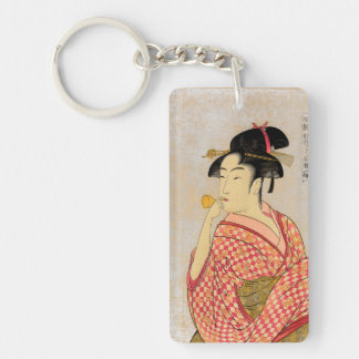 Young Lady Blowing on a Poppin. Double-Sided Rectangular Acrylic Keychain