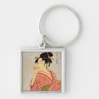 Young Lady Blowing on a Poppin. Silver-Colored Square Keychain