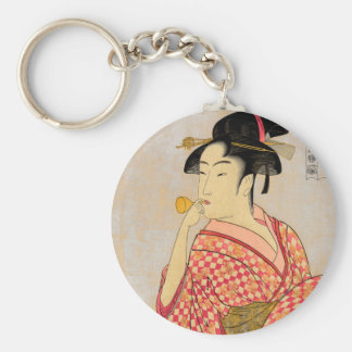 Young Lady Blowing on a Poppin. Basic Round Button Keychain