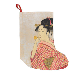 Young Lady Blowing on a Poppin. Small Christmas Stocking