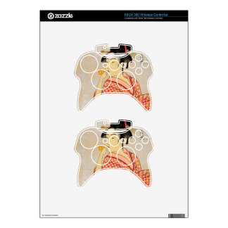 Young Lady Blowing on a Poppin. Xbox 360 Controller Decal