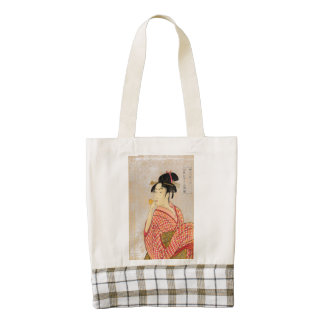 Young Lady Blowing on a Poppin. Zazzle HEART Tote Bag
