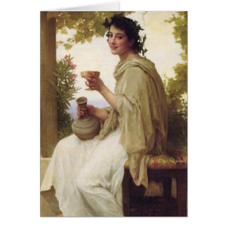 Young lady drinking wine card