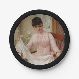 Young Lady Folding Laundry 7 Inch Paper Plate