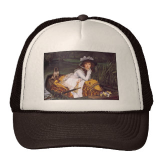 Young Lady & Her Pet Pug in a Boat by James Tissot Trucker Hat