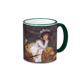 Young Lady & Her Pet Pug in a Boat by James Tissot Ringer Coffee Mug