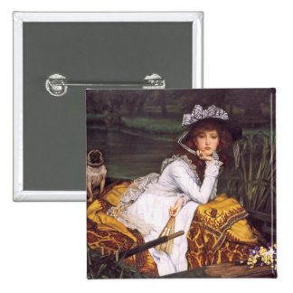 Young Lady & Her Pet Pug in a Boat by James Tissot Pinback Button