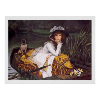 Young Lady & Her Pet Pug in a Boat by James Tissot Poster