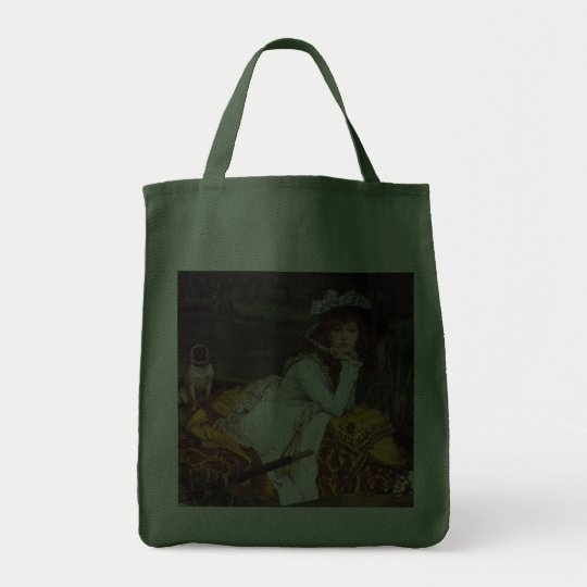 Young Lady & Her Pet Pug in a Boat by James Tissot Tote Bag