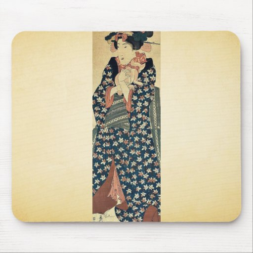 Young lady holding a cat by Ikeda, Eisen Ukiyoe Mouse Pad