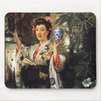 Young Lady Holding Japanese Objects Mouse Pad