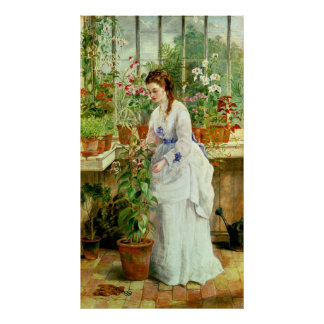Young Lady in a Conservatory Poster
