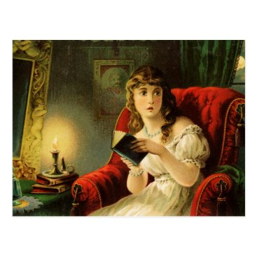 HTMimages Young lady reading by candlelight is spooked postcard