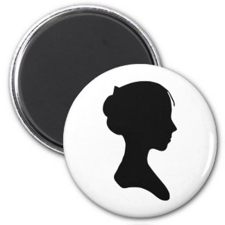 Young Lady Silhouette 2 Inch Round Magnet