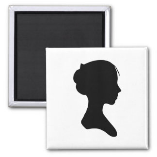 Young Lady Silhouette 2 Inch Square Magnet